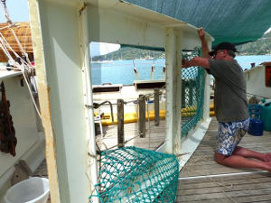 Brian removing netting from a ramp