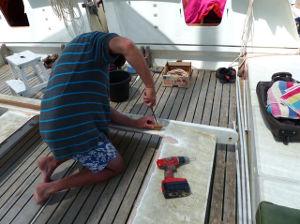 Volunteer working on the stern ramp