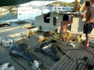 Engine parts all over the deck