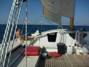 Gaia sailing, view from deck