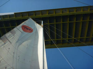 Gaia sailing under bridge