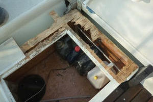Rotten plywood removed from engine box