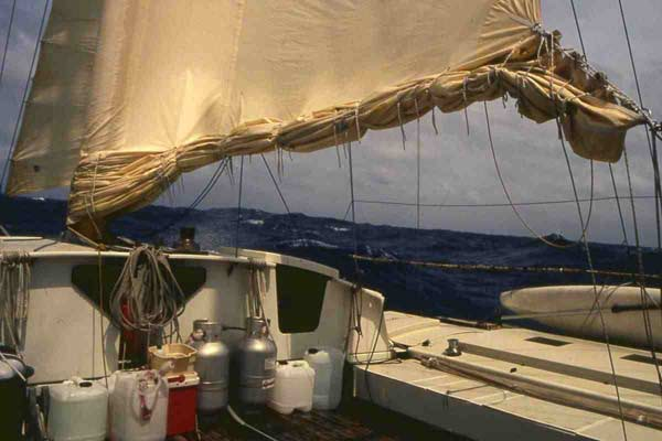 'Spirit of Gaia' with 4 reefs in Mainsail sailing in the Pacific.