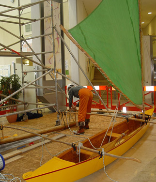 Outrigger canoe being assembled