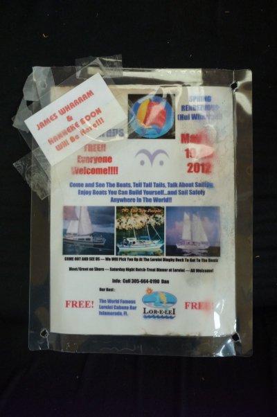 Hui Wharram flyer encased in clear plastic