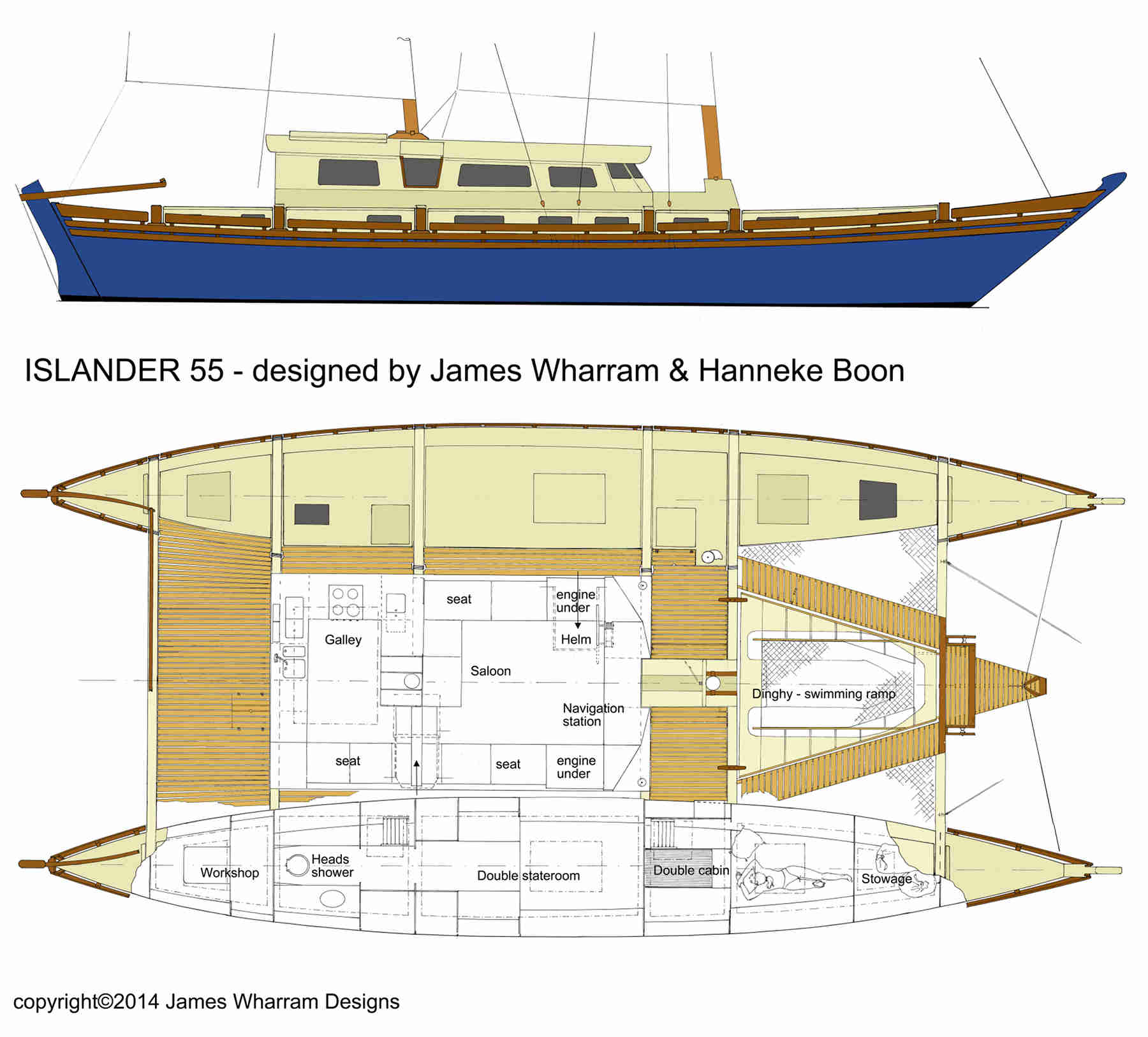 Islander 55 colour drawing