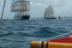 Photo of two square riggers at sea, taken from Amatasi