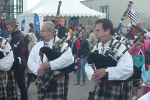 Men playing bagpipes at the festival