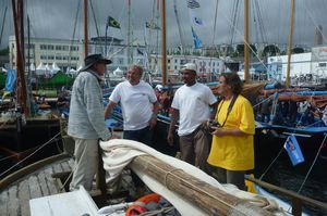 James talking to the crew on a workboat