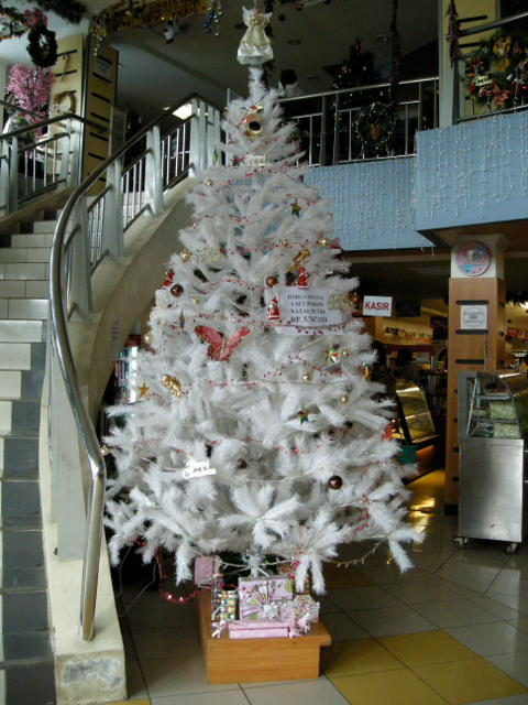 Large christmas tree next to a staircase