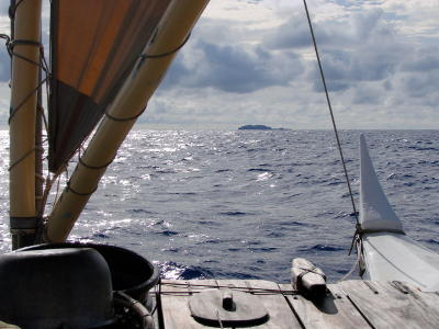 View of a distant island from one of the boats