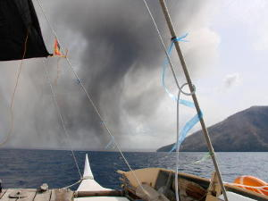 View of the ash cloud from starboard bow