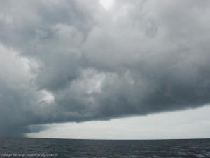 Dark cloudy sky above the sea