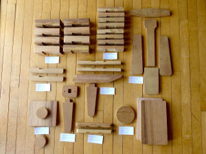 Shaped pieces of hardwood