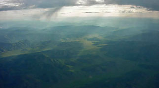 Mongolia wild landscape from the air