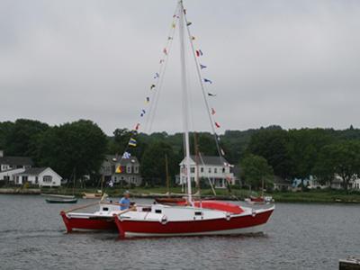 Tiki 30 on the water