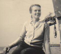 Black and white photo of Ruth on Tangaroa