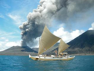 Tama Moana, volcano smoke in background