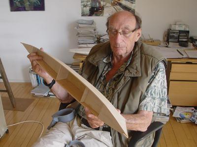 James holding Amatasi hull model