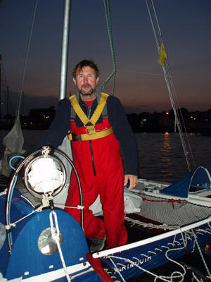 Rory on Cooking Fat at nightfall in a harbour
