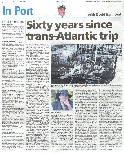 Newspaper article - Sixty years since trans-Atlantic trip
