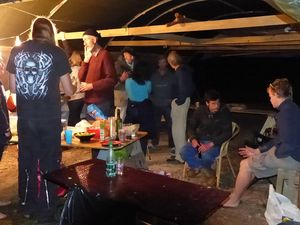 People gathered in the boat tent at Wharram HQ