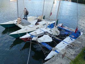 Wharram Tiki 21 and Mana 24 lined up on a quay.