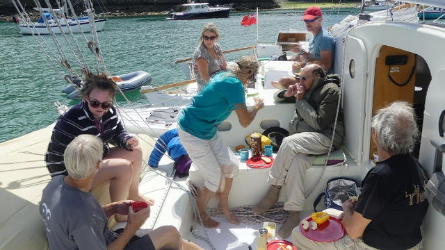 People having lunch on a boat