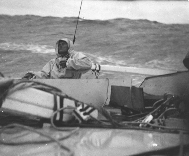 Jutta at the helm in rough sea conditions