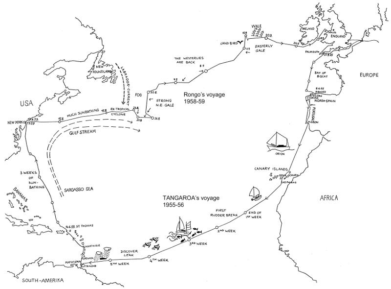 A map of the voyages of Tangaroa and Rongo in the Atlantic ocean