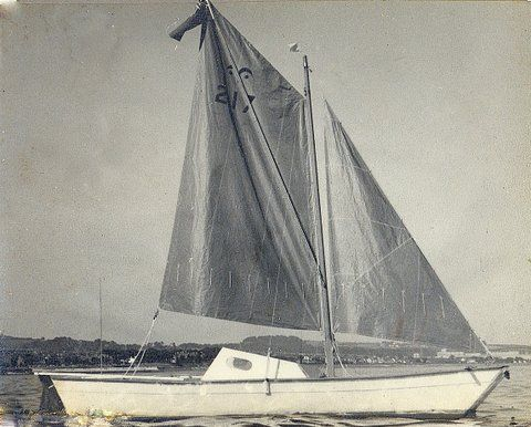 Black and white photo of Wharram Hinemoa with sails up