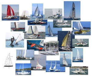Photo collage of catamarans