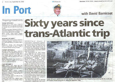 Newspaper article - 60 years since trans-Atlantic trip