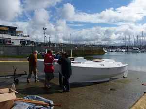 Mana on the slipway in Brest, France. She has no windows.