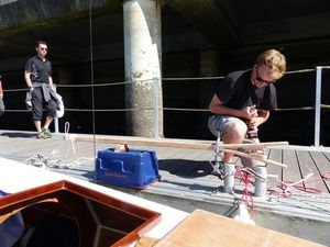 Pierre-Yves working on a gaff for Mana, on the pontoon at Brest