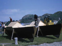 Catamaran under construction in the open