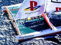 Very large racing catamaran sailing