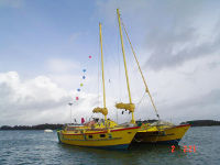 Yellow Tiki 38 on the water