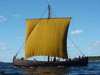 Viking ship replica sailing