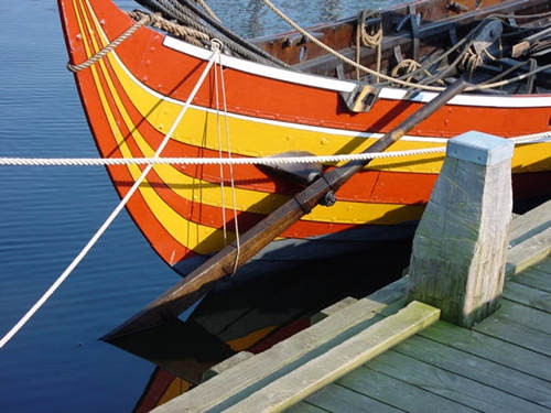 Orange and yellow viking ship