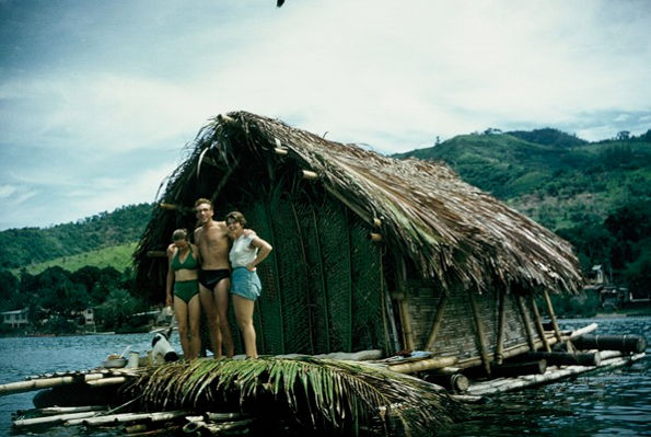 Jutta, James and Ruth on their house raft