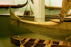 Outrigger canoe in museum