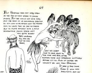 Illustrations of islanders dancing