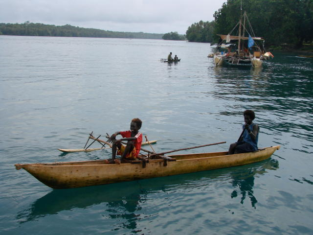 Pacific people using canoe form craft