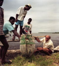 James in discussion with Melanesians