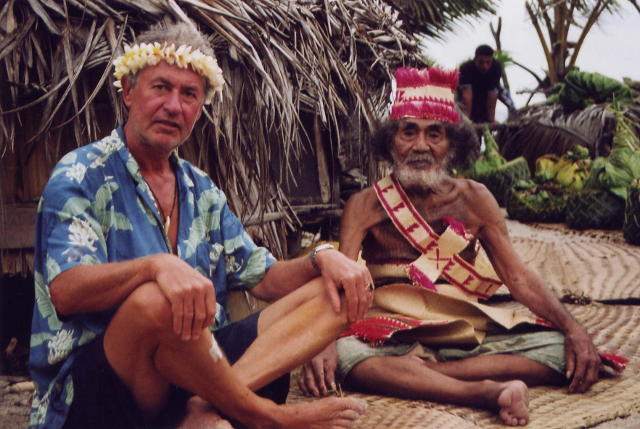 Klaus Hympendahl and Anuta chief outside hut