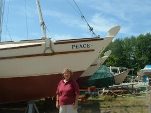 Ann Clement on land next to Peace IV