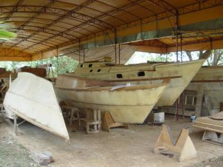 Boats under construction at a yard