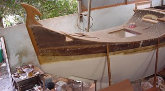 Pahi 52 hull in workshop