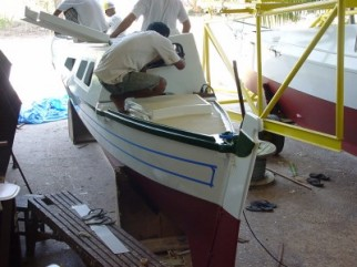 Tiki 30 hulls in workshop